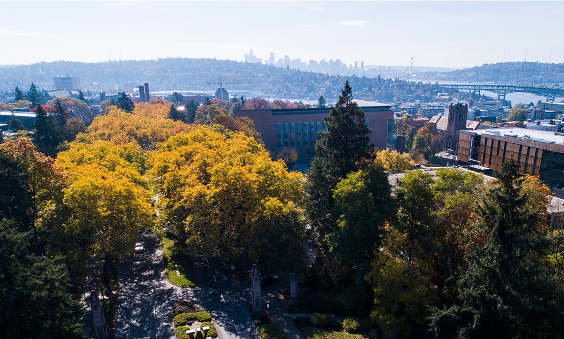 University of Washington campus with the Seattle skyline in the distance