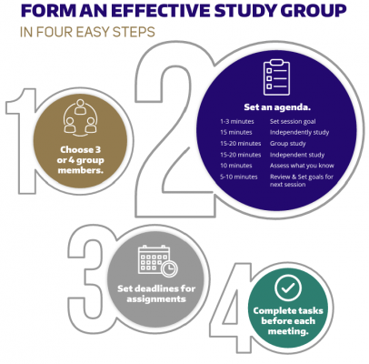 Figure showing steps for forming an effective study group (choosing group members, setting an agenda, setting deadlines for assignments, and completing tasks before the meeting)