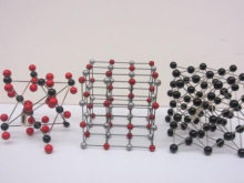 three ball-and-stick models of crystal lattices