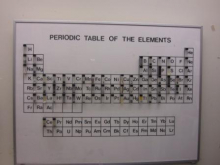 a periodic table with vial samples of elements
