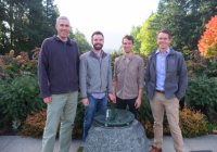 Four members of the BlueDot team on UW's campus