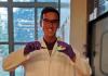Ted Cohen holding perosvskite nanocrystal samples