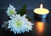 White flowers and a lit votive candle to symbolize a memorial. Stock image provided by Microsoft.